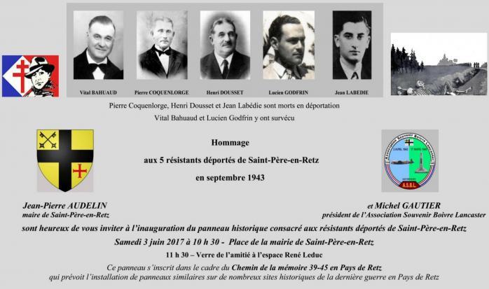 Invitation Cérémonie - Résistants déportés - St Père en Retz 2017